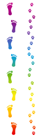 Footprints of dog and barefoot human master going for a walk. Rainbow colored footsteps. Isolated vector illustration on white background.