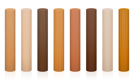 Wooden posts. Collection of wooden rods, different colors, glazes, textures from various trees to choose - brown, dark, gray, light, red, yellow, orange decor models - vector on white background. Ilustração