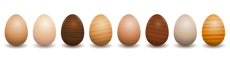 Wooden Easter eggs. Different species of wood types - set of eight polished, varnished, textured samples - brown, dark, gray, light, red or yellow decor models.