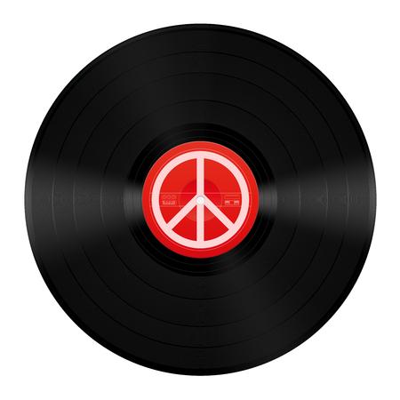LP di musica per la pace. Disco in vinile con simbolo della pace. Illustrazione vettoriale isolato su sfondo bianco.