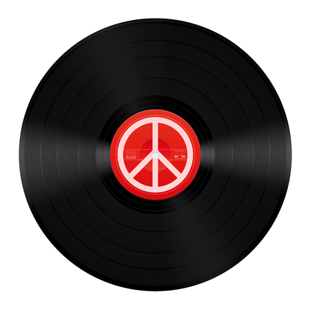 Peace music LP. Vinyl record with peace symbol. Isolated vector illustration on white background.