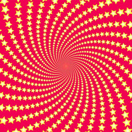Motif étoile en spirale. Étoiles filantes jaunes sur fond rouge. Illustration fractale circulaire tordue, design puissant, dynamique et hypnotisant. Illustration vectorielle.