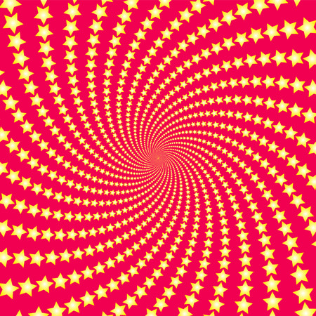 Spiral star pattern. Yellow shooting stars on red background. Twisted circular fractal illustration, powerful, dynamically, hypnotizing design. Vector illustration.
