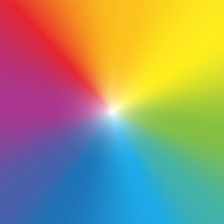 Sfondo di colore arcobaleno. Raggi colorati spettrali sfumati con centro chiaro. Illustrazione grafica vettoriale. Vettoriali