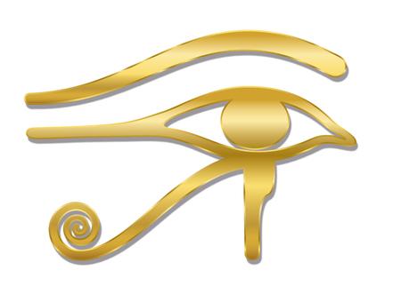 Złote Oko Horusa. Starożytna egipska bogini Wedjat symbol ochrony, władzy królewskiej i dobrego zdrowia. Podobny do Eye of Ra. Ilustracja wektorowa na białym tle na białym tle.