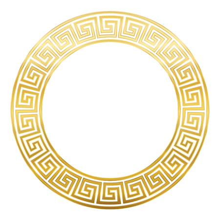 Meander design circle frame with seamless pattern. Golden Meandros, a decorative border, constructed from continuous lines, shaped into a repeated motif. Greek fret or Greek key. White background.