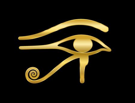 Złote oko Horusa na czarnym tle. Starożytna egipska bogini Wedjat symbol ochrony, władzy królewskiej i dobrego zdrowia. Podobny do Eye of Ra. Ilustracje wektorowe