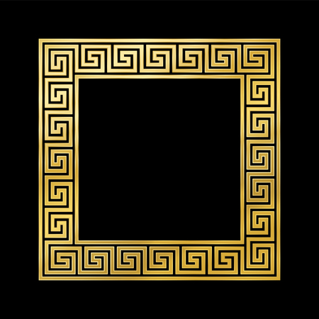 Greek pattern square frame, golden, meander pattern. Meandros, a decorative border, constructed from continuous lines, shaped into a repeated motif. Greek fret or Greek key. Vector Illustration