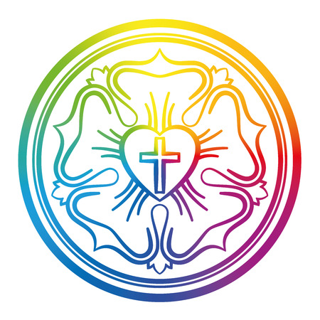 Luther rose symbol. Rainbow colored sign of Lutheranism and protestants, consisting of a cross, a heart, a single rose and a ring - isolated vector illustration on white background. Vectores
