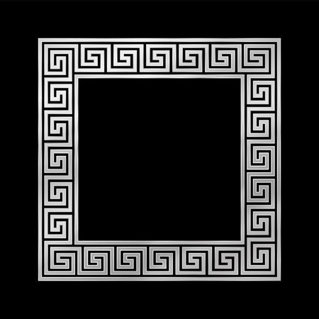 Square meander frame, seamless silver pattern. Meandros, a decorative border, constructed from continuous lines, shaped into a repeated motif. Greek fret or Greek key. Illustration over white. Vector.