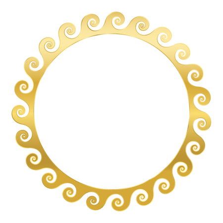 Golden spirals frame. Seamless meander pattern design. Waves shaped into repeated motif. Scroll pattern. Decorative border. Vitruvian wave or Vitruvian scroll. Vector.
