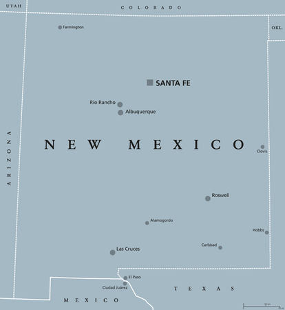 New Mexico, political map, with capital Santa Fe, the largest..