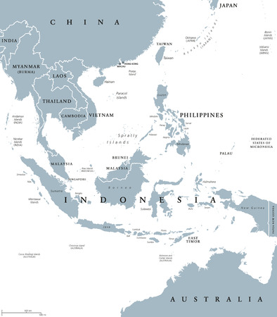 Southeast Asia, political map with borders. Subregion of Asia with countries south of China, east of India, west of New Guinea, north of Australia. Gray illustration on white background. Vector. Illustration