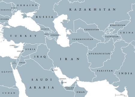 Azja Południowo-Zachodnia, polityczna mapa z granicami. Zwana także Azją Zachodnią, Zachodnią lub Południowo-Zachodnią. Subregion pokrywający się z Bliskim Wschodem, w tym Kaukazem. Szary ilustracja na białym tle. Wektor.