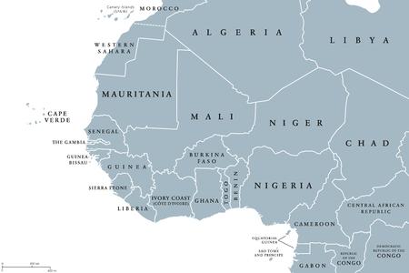 Region Afryki Zachodniej, polityczna mapa. Obszar z granicami. Najbardziej wysunięte na zachód kraje kontynentu afrykańskiego, zwane także Afryką Zachodnią. Szary ilustracja na białym tle. Wektor.