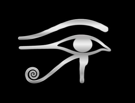 Eye of Horus. Ancient Egyptian silver symbol of goddess Wedjat. Vector illustration on black background.