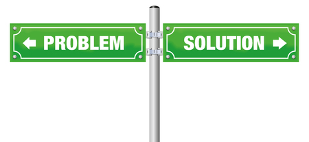 PROBLEM and SOLUTION written on street signs. Isolated vector illustration on white background.