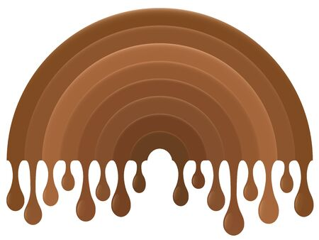 Dripping chocolate rainbow. Sweet and tasty decoration art. Isolated vector on white background.
