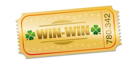 Golden raffle ticket with win win situation prize. Single strip ticket with lucky clover, stars and winning number. Isolated vector on white background.
