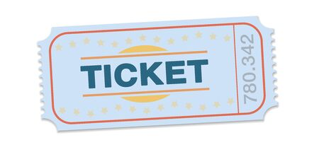 Raffle ticket. Single strip ticket for tombola, lottery, admission, cinema, theater, festival and other events. Retro style vector on white background.