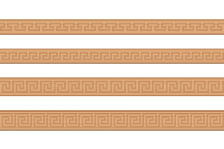 Wooden mouldings. Ornamental carved wood strips, decorative greek style pattern, seamless extendible. Isolated vector illustration on white background.
