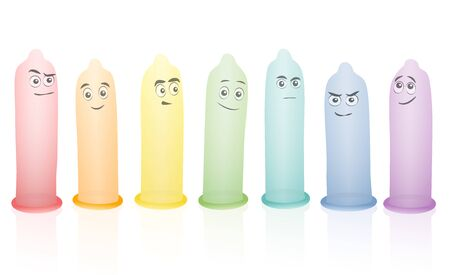 Condoms, colorful erected set with funny comic faces. Isolated vector illustration on white background.