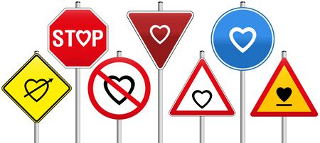 Seven traffic signs with hearts concerning love, like warning- stop- yield- or prohibition-signs.
