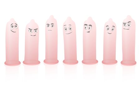 Happy comic condoms with faces, unrolled set of funny characters. Isolated vector illustration on white background.