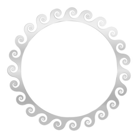 Silver spirals frame. Seamless meander pattern design. Waves shaped into repeated motif. Scroll pattern. Decorative border. Vitruvian wave or Vitruvian scroll. Vector.