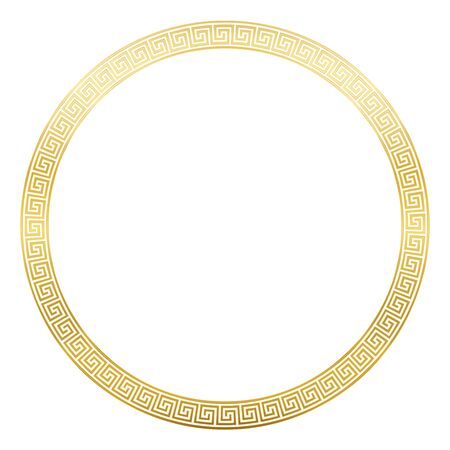 Ancient pattern frame, round golden meander design with seamless greek pattern,  decorative border, constructed from continuous lines, shaped into a repeated motif. White background.