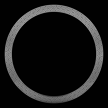 Round silver frame, ancient pattern, silver meander design with seamless greek pattern, decorative border, constructed from continuous lines, shaped into a repeated motif. Black background.