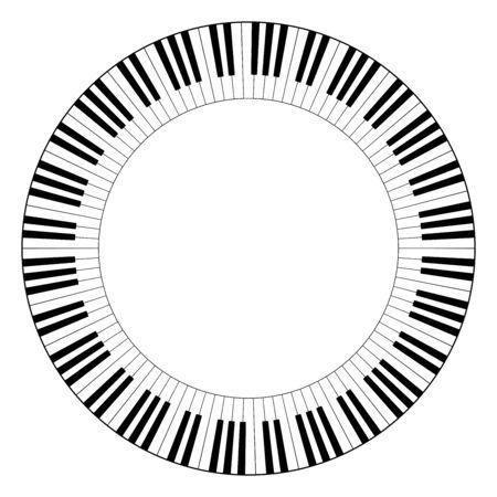 Musikalischer Tastaturkreisrahmen aus verbundenen Oktavmustern. Dekorative Umrandung, konstruiert aus Oktaven, schwarzen und weißen Tasten der Klaviertastatur, geformt in sich wiederholendes Motiv. Illustration. Vektor.