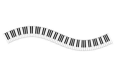 Musical keyboard wave, constructed from octave patterns, black and white piano keyboard keys, shaped into repeated motif. Illustration. Vector.