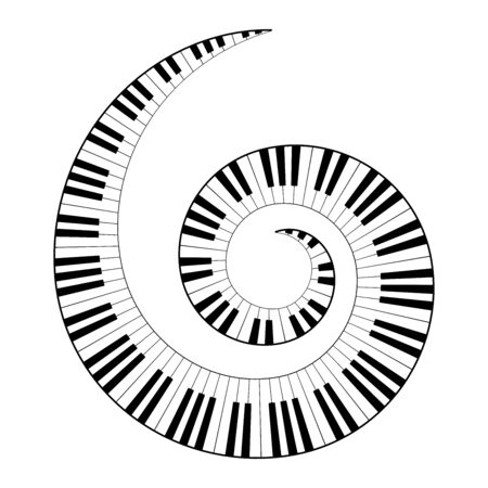 Musical keyboard spiral, constructed from octave patterns, black and white piano keyboard keys, shaped into repeated motif. Illustration. Vector.