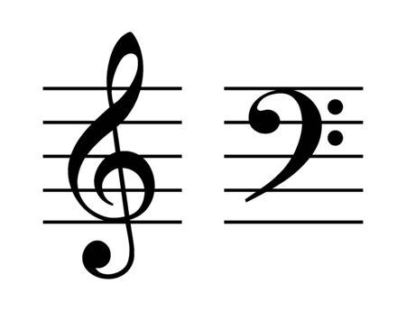 Clé de sol et clé de fa sur portée à cinq lignes. Clé de sol placée sur la deuxième ligne et clé de F sur la quatrième ligne de la portée. Deux symboles musicaux, utilisés pour indiquer la hauteur des notes écrites. Illustration. Vecteur Vecteurs