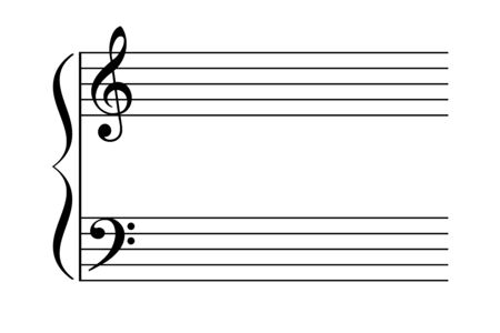 Grand staff, also great stave. Two staves are joined by brace to be played by one performer on a keyboard instrument or harp. Typically with treble clef and bass clef. Illustration over white. Vector.