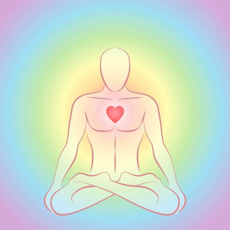 Meditating zen man in lotus position with glowing red heart chakra on rainbow colored circular background. Illustration