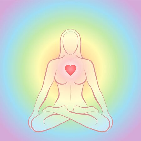 Meditating zen woman in lotus position with glowing red heart chakra on rainbow colored circular background.