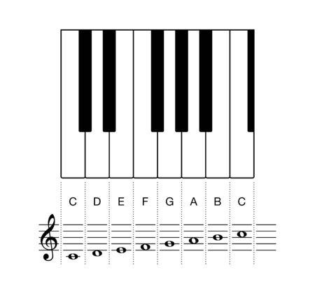 C-Dur-Tonleiter, eine Oktave auf Notenzeile und Tasten. Oktave auf Tastaturtasten und auf einer fünfzeiligen Notenzeile mit Violinschlüssel und ganzen Noten. Häufigste Tonartvorzeichnung in der Musik. Illustration. Vektor.