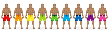Board shorts. Rainbow colored collection of bermudas for nine men - red, orange, yellow, green, blue, purple, pink. Isolated vector illustration on white background.