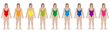 Bañadores de una pieza. Colección de ropa de playa con los colores del arco iris para nueve mujeres: rojo, naranja, amarillo, verde, azul, violeta, rosa. Ilustración de vector aislado sobre fondo blanco.