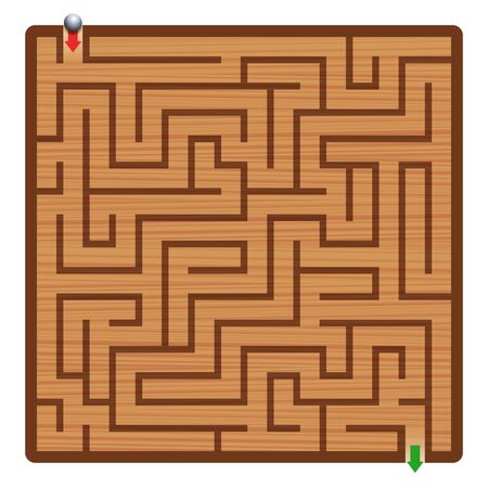 Wooden labyrinth with iron ball. Maze - square format labyrinth - fun game to find the right way. 向量圖像