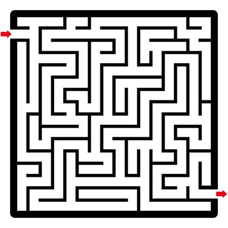 Maze, square format. Labyrinth with two arrows. Fun game to reach the goal.