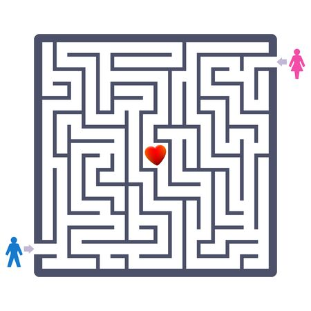 Love couple labyrinth with heart in the center. Finding your partner fun game - and a symbolic therapeutic agent concerning partner search or partnership problems.