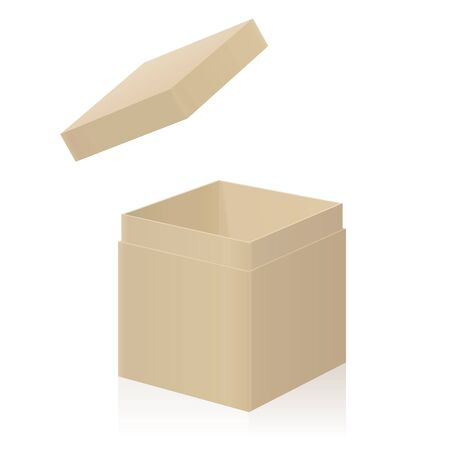 Cardboard box with extra detachable open lid to put on. Isolated 3d vector illustration on white background.