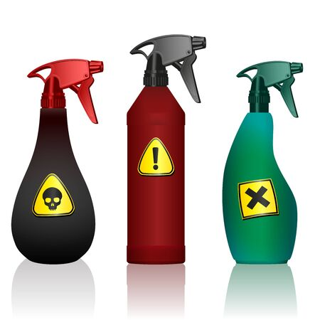 Poison spray bottles. Toxins, insecticides, pesticides, biocides with hazard warning signs. Caution poisonous. Isolated vector on white background.