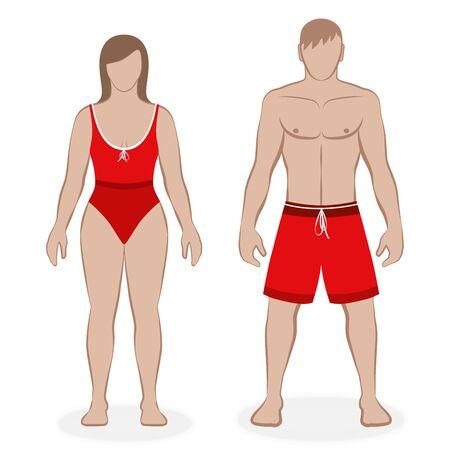 Bademodenpaar mit rotem Badeanzug und Boardshorts, passendes Outfit, Partnerlook. Isolierte Vektor-Illustration auf weißem Hintergrund. Vektorgrafik