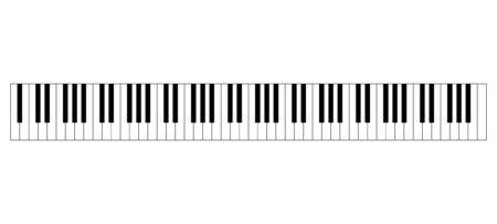 Vleugelklavierindeling met 88 toetsen. 52 witte en 36 zwarte toetsen, 7 volledige octaven. Set hendels op een muziekinstrument voor het spelen van de twaalf tonen van de westerse toonladder. Illustratie. Vector.