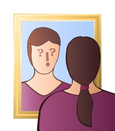 Doubtful woman looking in the mirror - identity crisis, uncertainty, self-doubts, scepticism, bewilderment, confusion, unconsciousness or daze - with question and exclamation marks in her face. Vectores