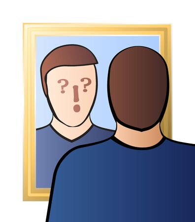 Doubtful man looking in the mirror - identity crisis, uncertainty, self-doubts, scepticism, bewilderment, confusion, unconsciousness or daze - with question and exclamation marks in his face.